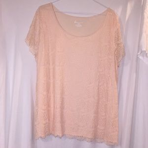 Peach lace front blouse